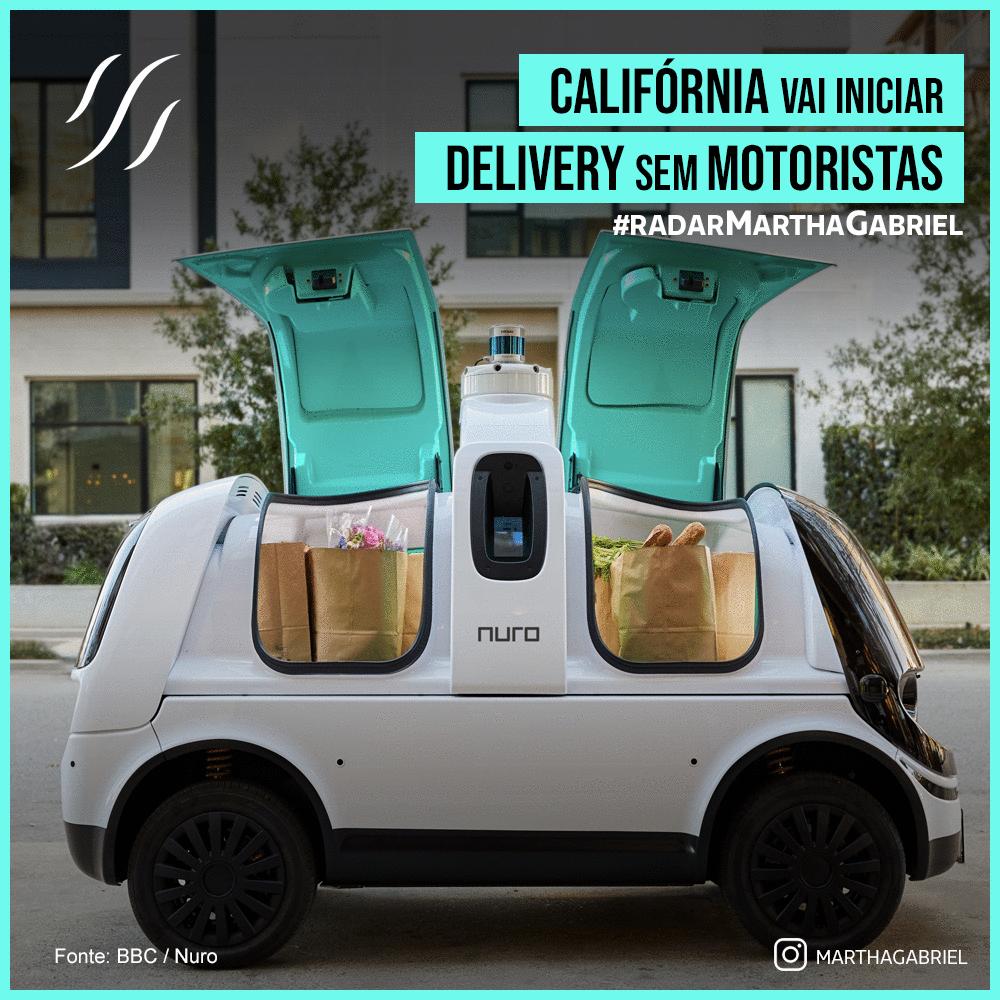 Califórnia vai iniciar delivery sem motoristas