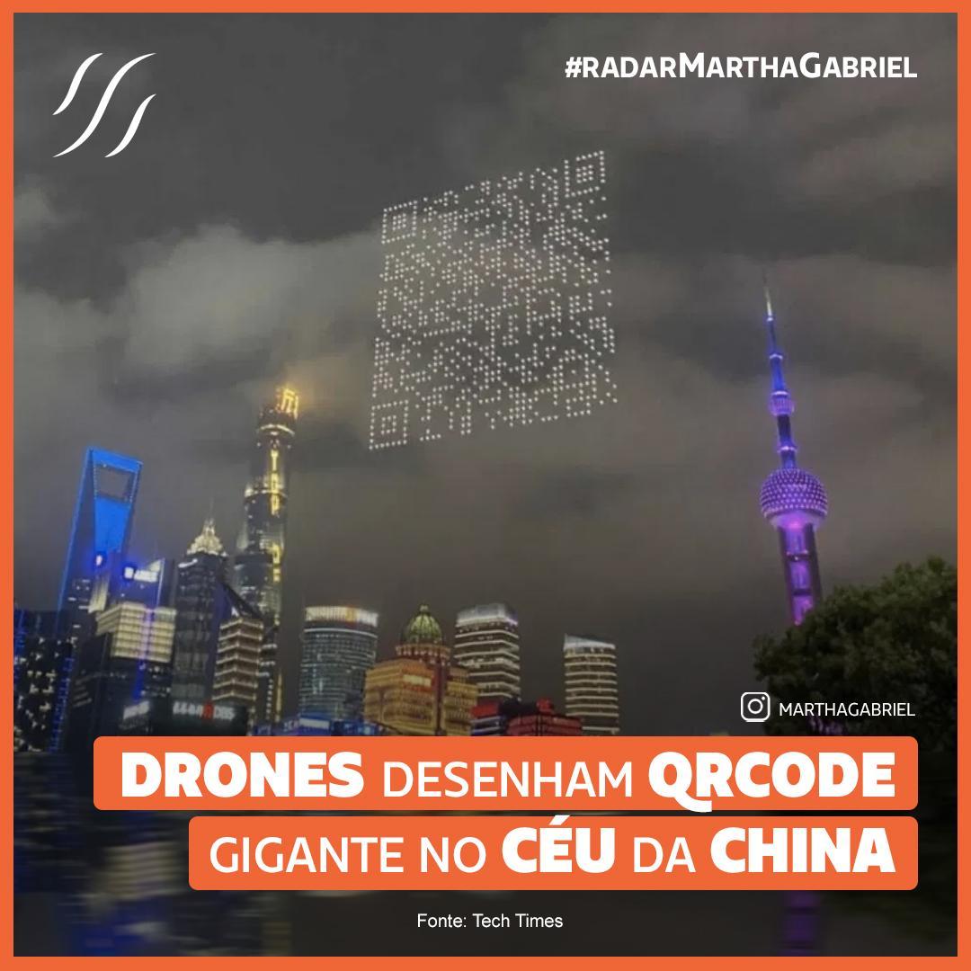 Drones desenham QR Code gigante no céu da China
