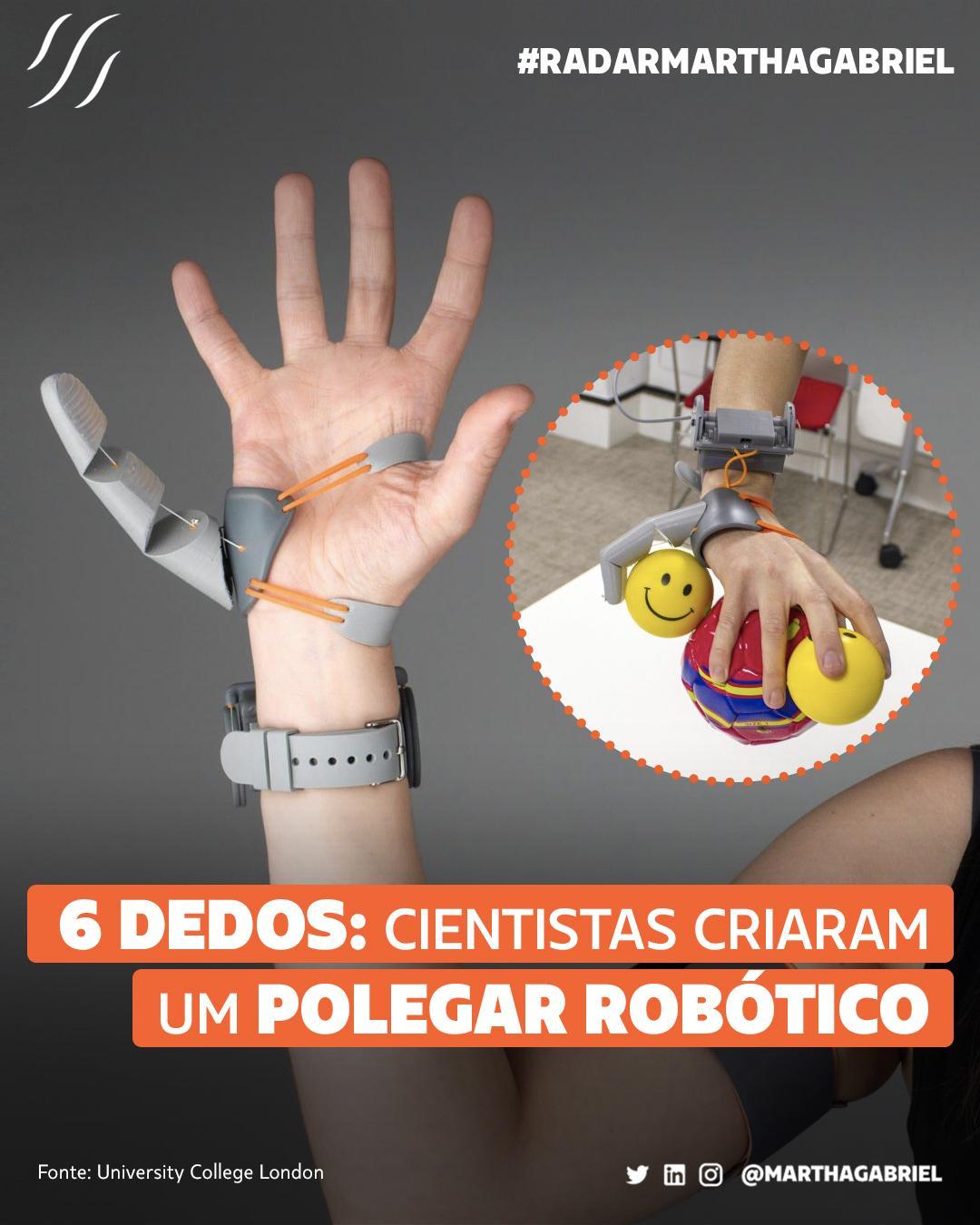 6 dedos: cientistas criaram um polegar robótico