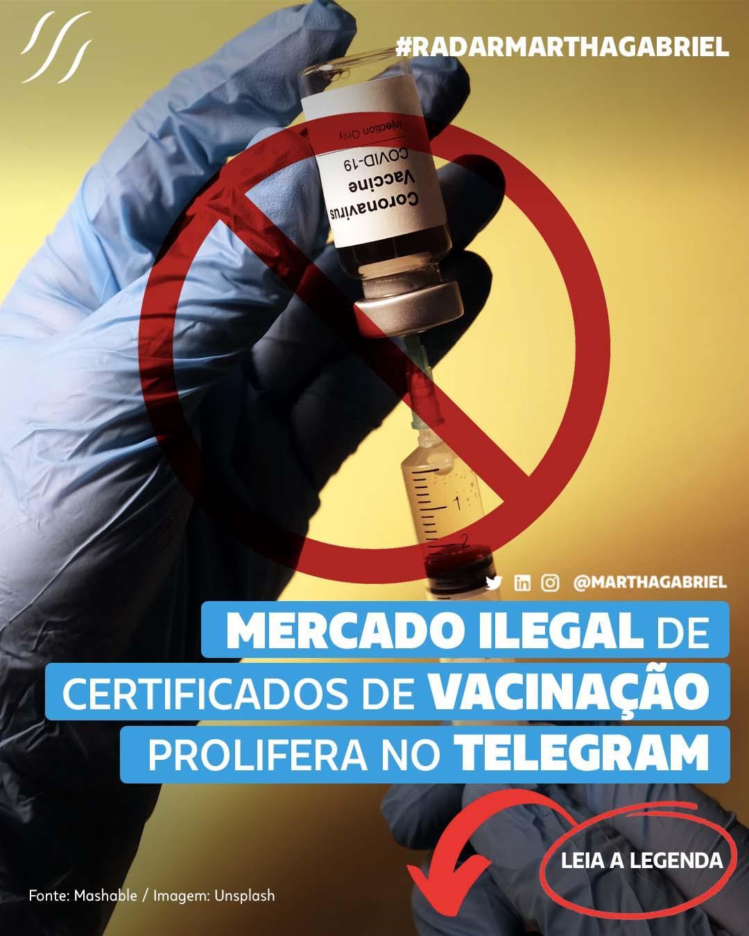 Mercado ilegal de certificados de vacinação prolifera no Telegram
