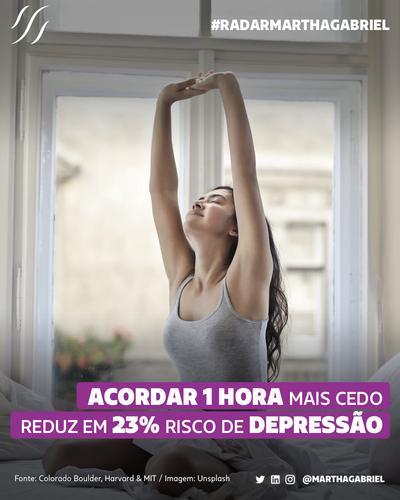 Acordar 1 hora mais cedo reduz em 23% risco de depressão